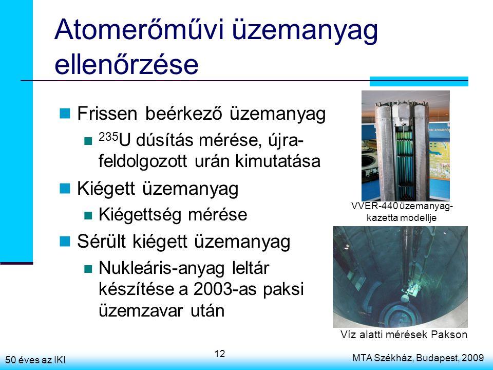 50 éves az IKI MTA Székház, Budapest, 2009 12 Atomerőművi üzemanyag ellenőrzése Frissen beérkező üzemanyag 235 U dúsítás mérése, újra- feldolgozott urán kimutatása Kiégett üzemanyag Kiégettség mérése Sérült kiégett üzemanyag Nukleáris-anyag leltár készítése a 2003-as paksi üzemzavar után VVER-440 üzemanyag- kazetta modellje Víz alatti mérések Pakson