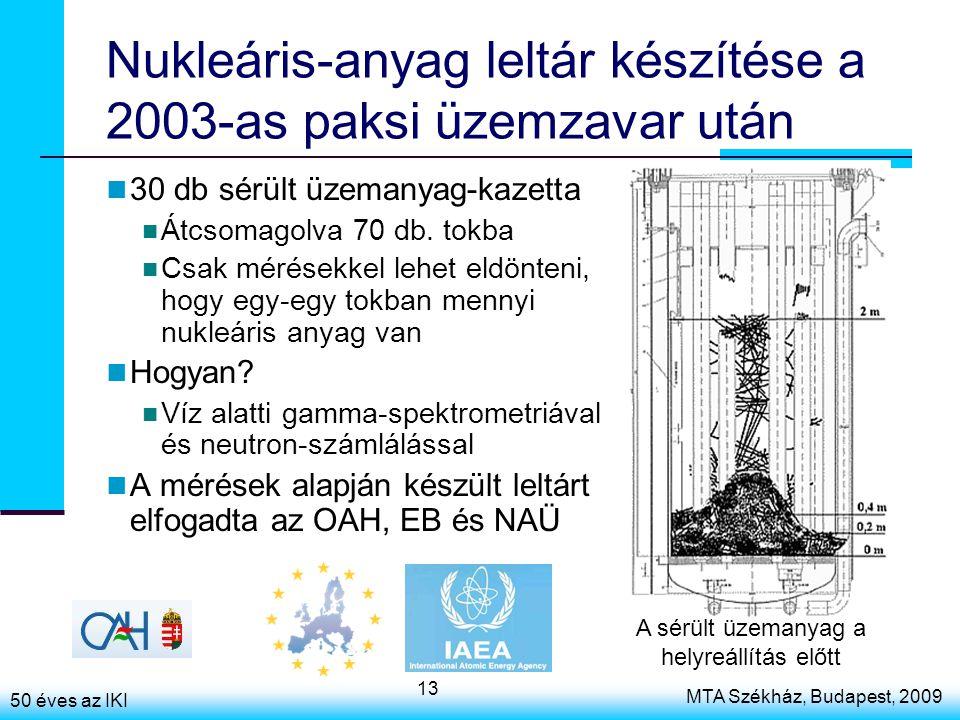50 éves az IKI MTA Székház, Budapest, 2009 13 Nukleáris-anyag leltár készítése a 2003-as paksi üzemzavar után 30 db sérült üzemanyag-kazetta Átcsomagolva 70 db.