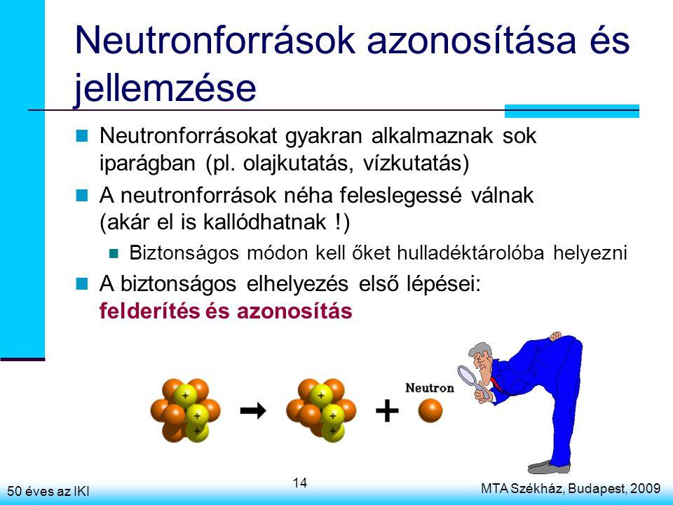 50 éves az IKI MTA Székház, Budapest, 2009 14 Neutronforrások azonosítása és jellemzése Neutronforrásokat gyakran alkalmaznak sok iparágban (pl.