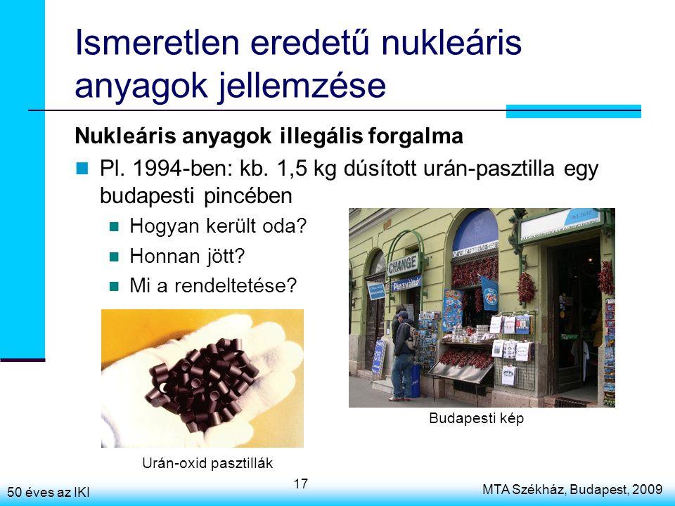 50 éves az IKI MTA Székház, Budapest, 2009 17 Ismeretlen eredetű nukleáris anyagok jellemzése Nukleáris anyagok illegális forgalma Pl. 1994-ben: kb. 1