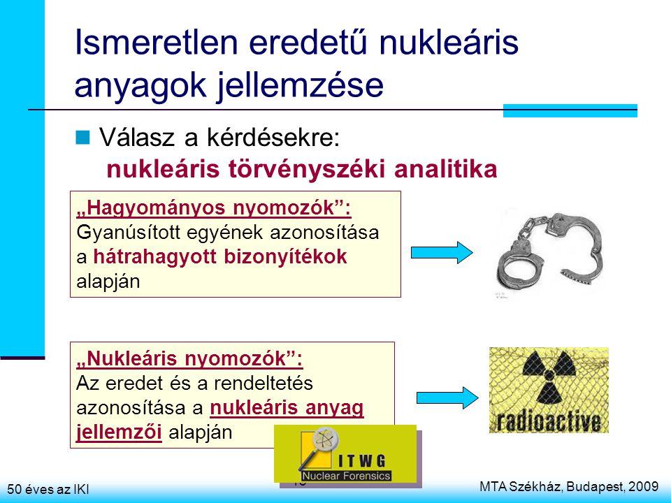 """50 éves az IKI MTA Székház, Budapest, 2009 18 Ismeretlen eredetű nukleáris anyagok jellemzése Válasz a kérdésekre: nukleáris törvényszéki analitika """"Nukleáris nyomozók : Az eredet és a rendeltetés azonosítása a nukleáris anyag jellemzői alapján """"Hagyományos nyomozók : Gyanúsított egyének azonosítása a hátrahagyott bizonyítékok alapján"""