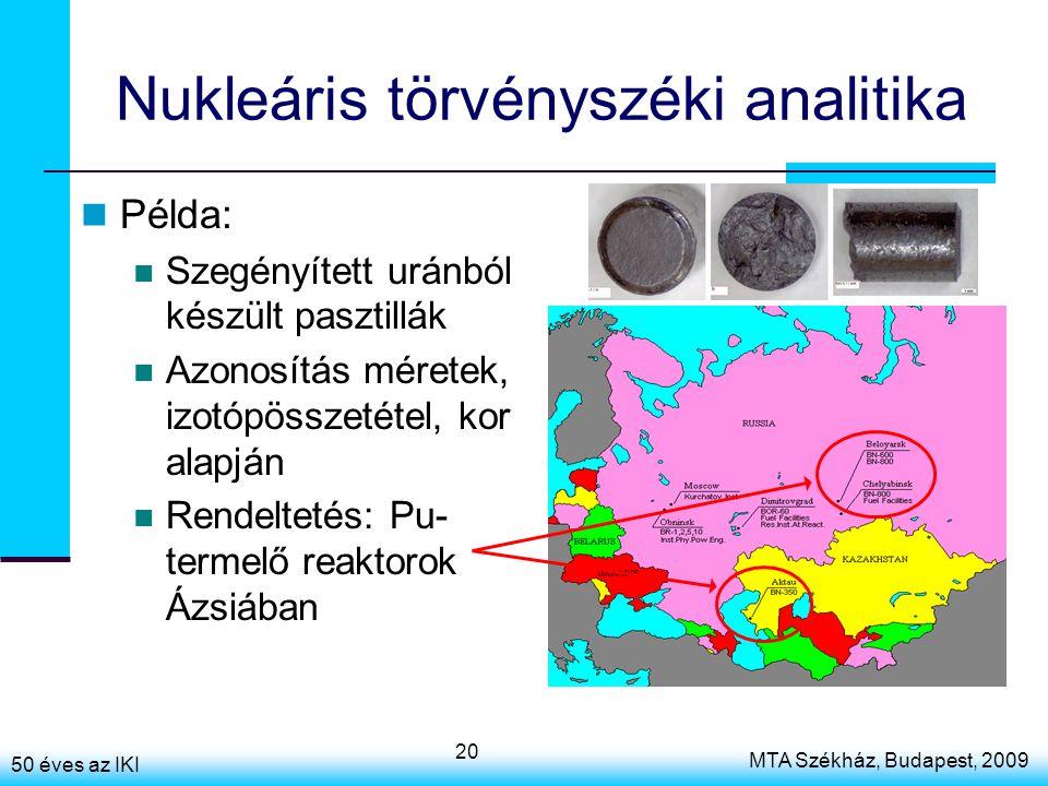 50 éves az IKI MTA Székház, Budapest, 2009 20 Nukleáris törvényszéki analitika Példa: Szegényített uránból készült pasztillák Azonosítás méretek, izot