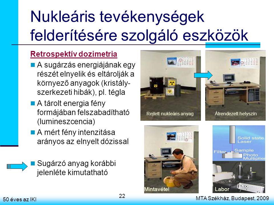 50 éves az IKI MTA Székház, Budapest, 2009 22 Nukleáris tevékenységek felderítésére szolgáló eszközök Retrospektív dozimetria A sugárzás energiájának egy részét elnyelik és eltárolják a környező anyagok (kristály- szerkezeti hibák), pl.