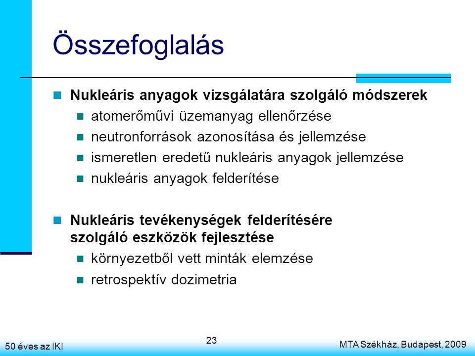 50 éves az IKI MTA Székház, Budapest, 2009 23 Összefoglalás Nukleáris anyagok vizsgálatára szolgáló módszerek atomerőművi üzemanyag ellenőrzése neutronforrások azonosítása és jellemzése ismeretlen eredetű nukleáris anyagok jellemzése nukleáris anyagok felderítése Nukleáris tevékenységek felderítésére szolgáló eszközök fejlesztése környezetből vett minták elemzése retrospektív dozimetria