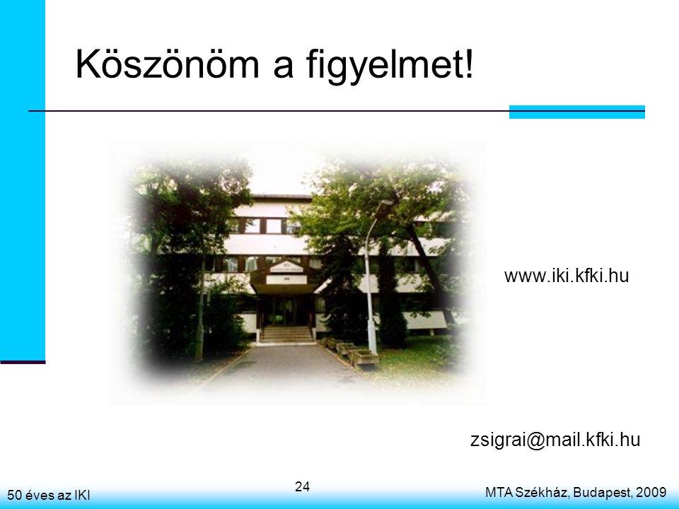 50 éves az IKI MTA Székház, Budapest, 2009 24 Köszönöm a figyelmet! zsigrai@mail.kfki.hu www.iki.kfki.hu