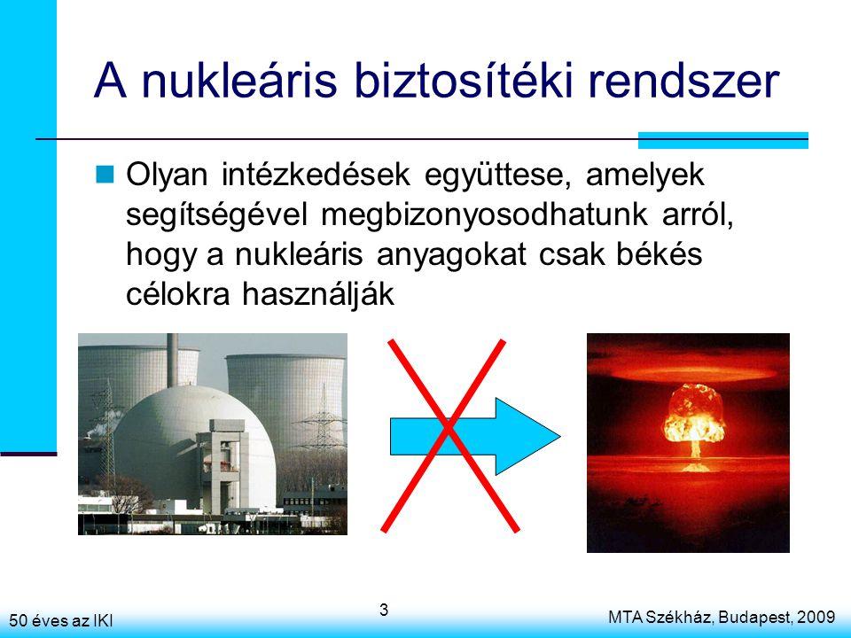 50 éves az IKI MTA Székház, Budapest, 2009 3 A nukleáris biztosítéki rendszer Olyan intézkedések együttese, amelyek segítségével megbizonyosodhatunk arról, hogy a nukleáris anyagokat csak békés célokra használják