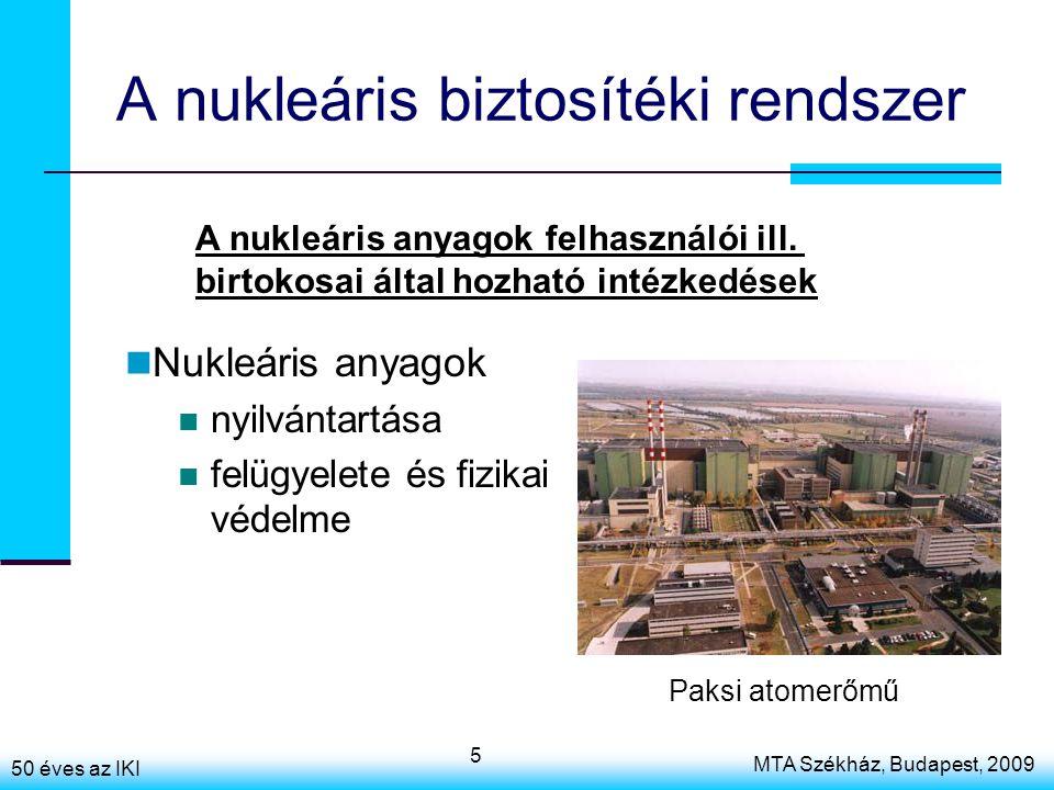 50 éves az IKI MTA Székház, Budapest, 2009 5 A nukleáris biztosítéki rendszer Nukleáris anyagok nyilvántartása felügyelete és fizikai védelme A nukleáris anyagok felhasználói ill.