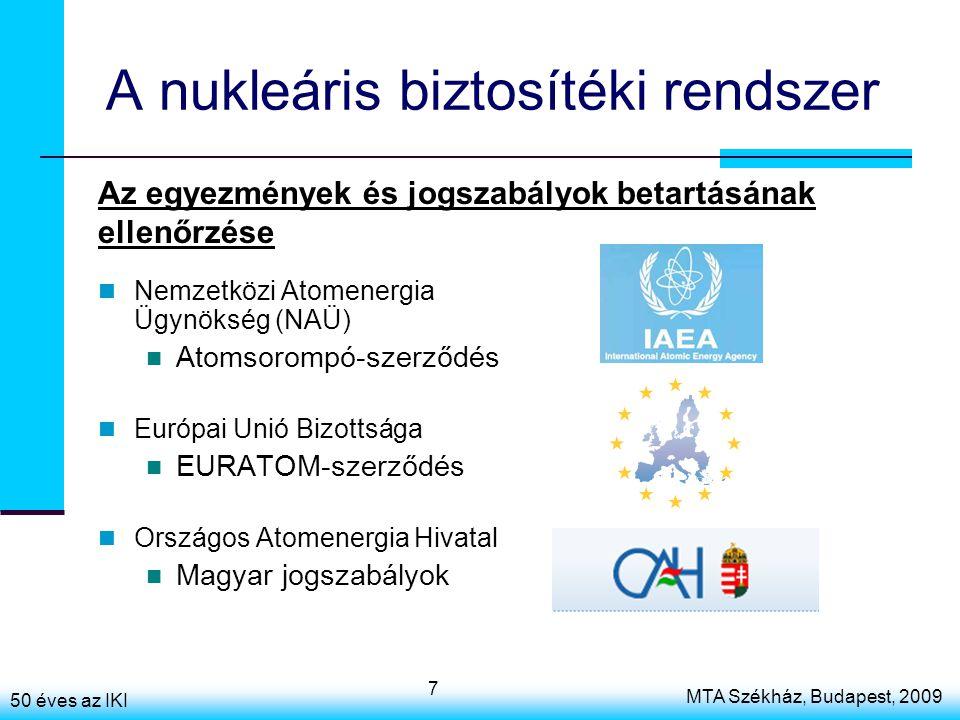 50 éves az IKI MTA Székház, Budapest, 2009 7 A nukleáris biztosítéki rendszer Nemzetközi Atomenergia Ügynökség (NAÜ) Atomsorompó-szerződés Európai Unió Bizottsága EURATOM-szerződés Országos Atomenergia Hivatal Magyar jogszabályok Az egyezmények és jogszabályok betartásának ellenőrzése