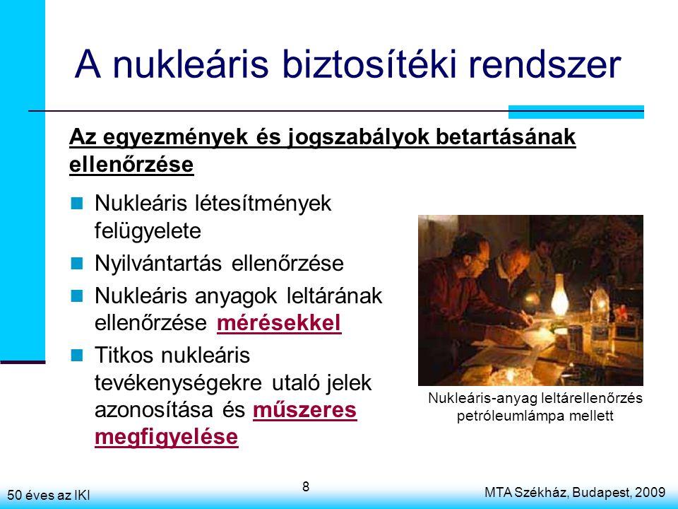 50 éves az IKI MTA Székház, Budapest, 2009 8 A nukleáris biztosítéki rendszer Nukleáris létesítmények felügyelete Nyilvántartás ellenőrzése Nukleáris anyagok leltárának ellenőrzése mérésekkel Titkos nukleáris tevékenységekre utaló jelek azonosítása és műszeres megfigyelése Az egyezmények és jogszabályok betartásának ellenőrzése Nukleáris-anyag leltárellenőrzés petróleumlámpa mellett