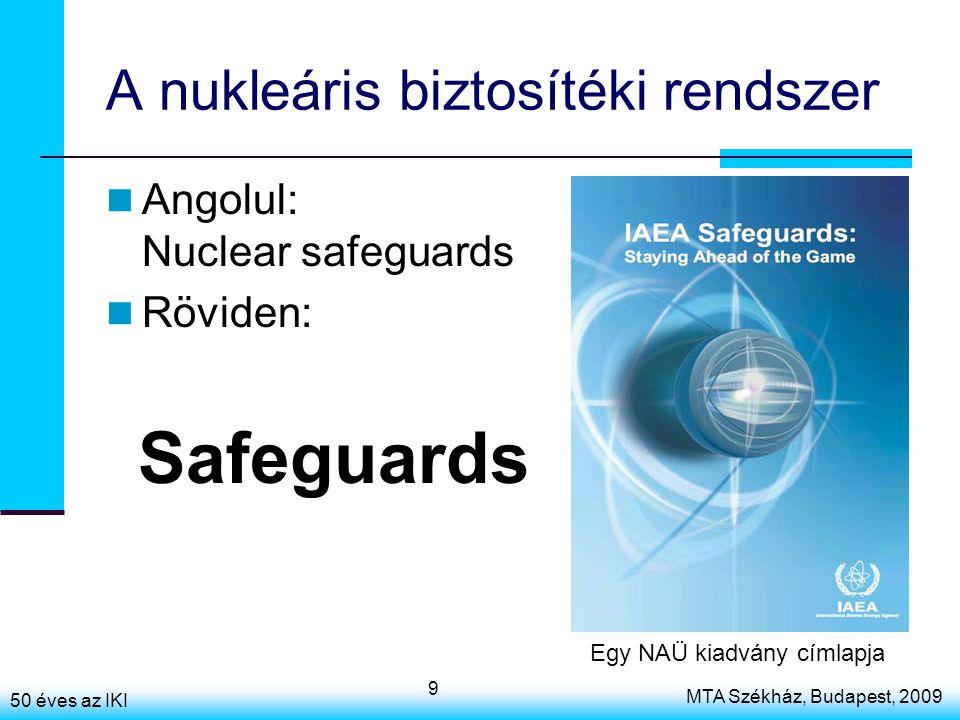 50 éves az IKI MTA Székház, Budapest, 2009 9 A nukleáris biztosítéki rendszer Angolul: Nuclear safeguards Röviden: Safeguards Egy NAÜ kiadvány címlapj