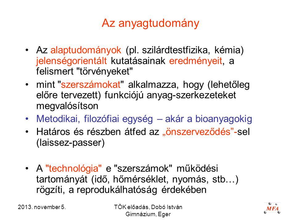 2013. november 5.TÖK előadás, Dobó István Gimnázium, Eger Az anyagtudomány Az alaptudományok (pl.