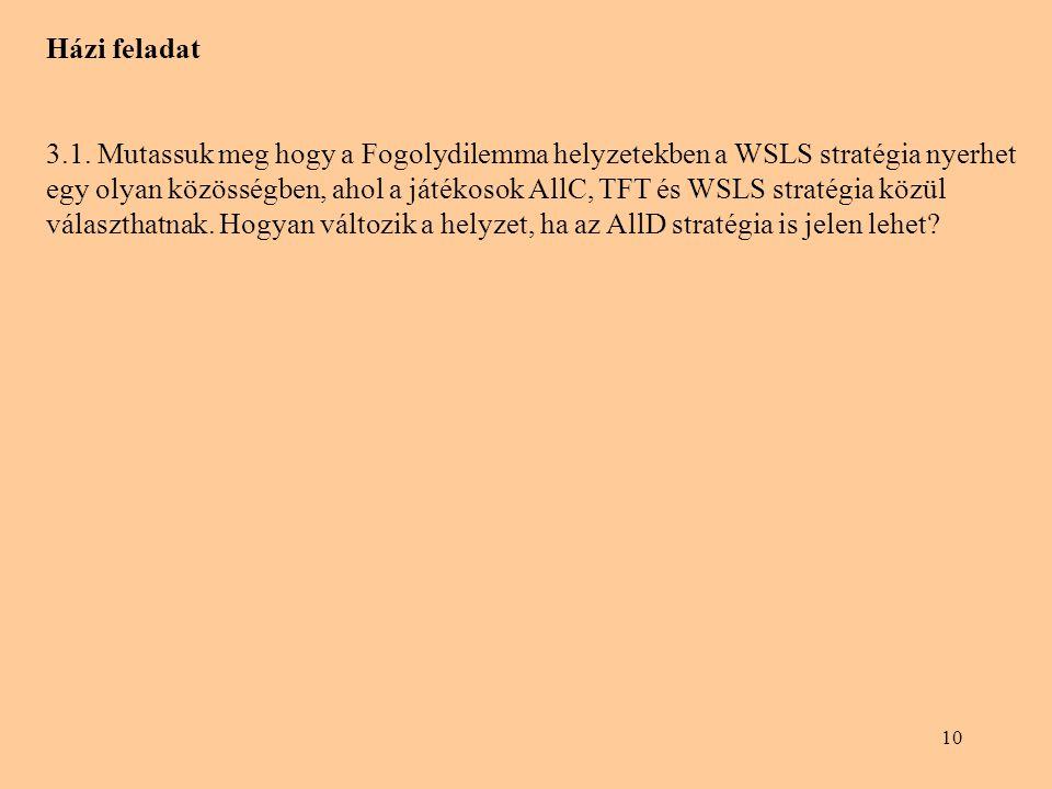 10 Házi feladat 3.1. Mutassuk meg hogy a Fogolydilemma helyzetekben a WSLS stratégia nyerhet egy olyan közösségben, ahol a játékosok AllC, TFT és WSLS