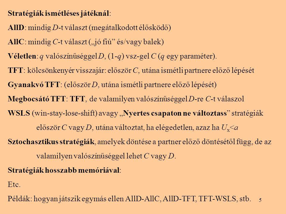 """5 Stratégiák ismétléses játéknál: AllD: mindig D-t választ (megátalkodott élősködő) AllC: mindig C-t választ (""""jó fiú"""" és/vagy balek) Véletlen: q való"""