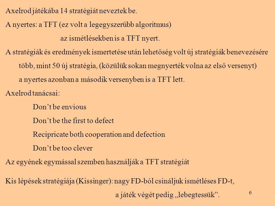 6 Axelrod játékába 14 stratégiát neveztek be. A nyertes: a TFT (ez volt a legegyszerűbb algoritmus) az ismétlésekben is a TFT nyert. A stratégiák és e