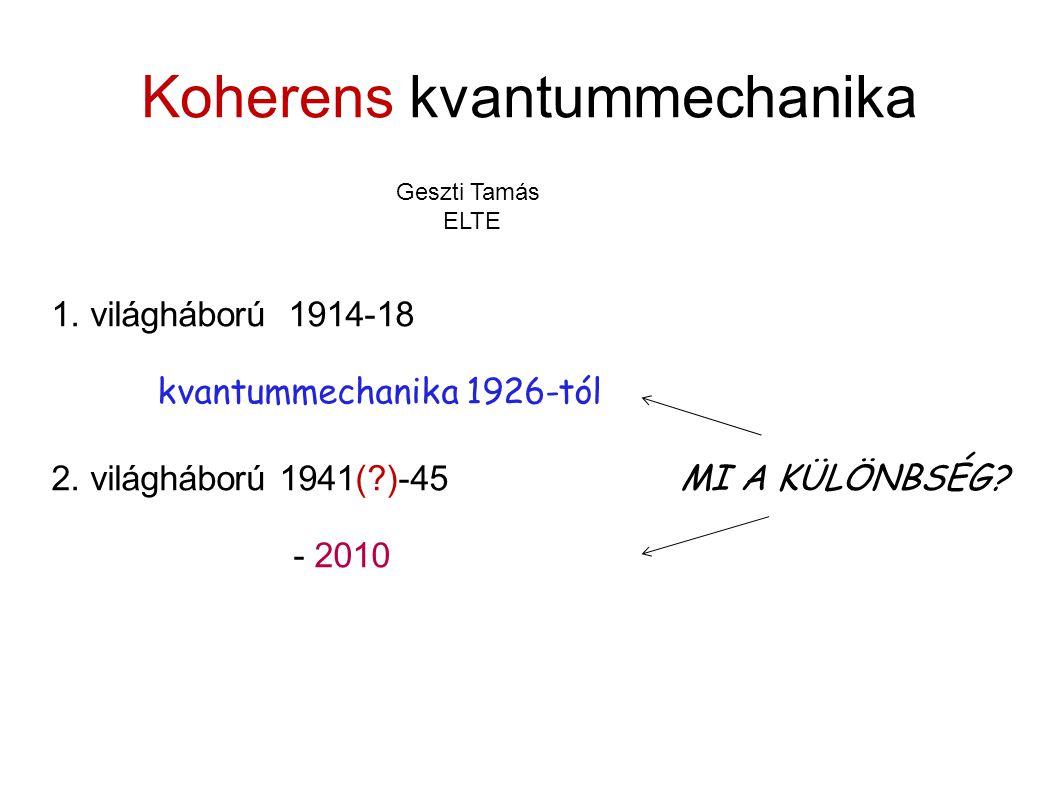Koherens kvantummechanika 1.világháború 1914-18 kvantummechanika 1926-tól 2.