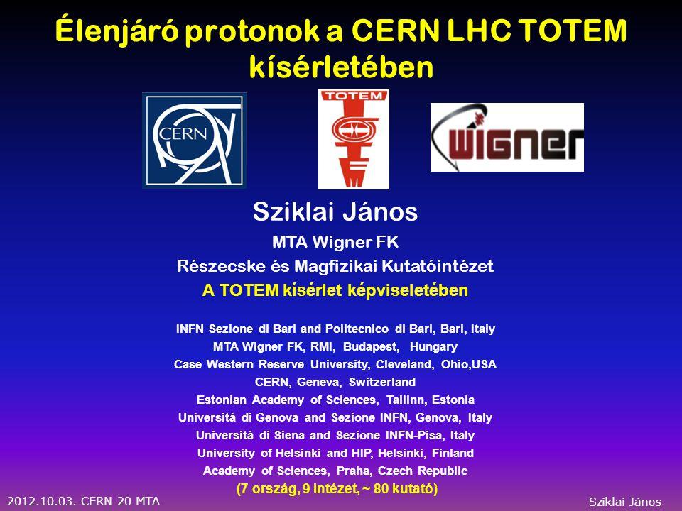 2012.10.03. CERN 20 MTA Sziklai János Backup Slides