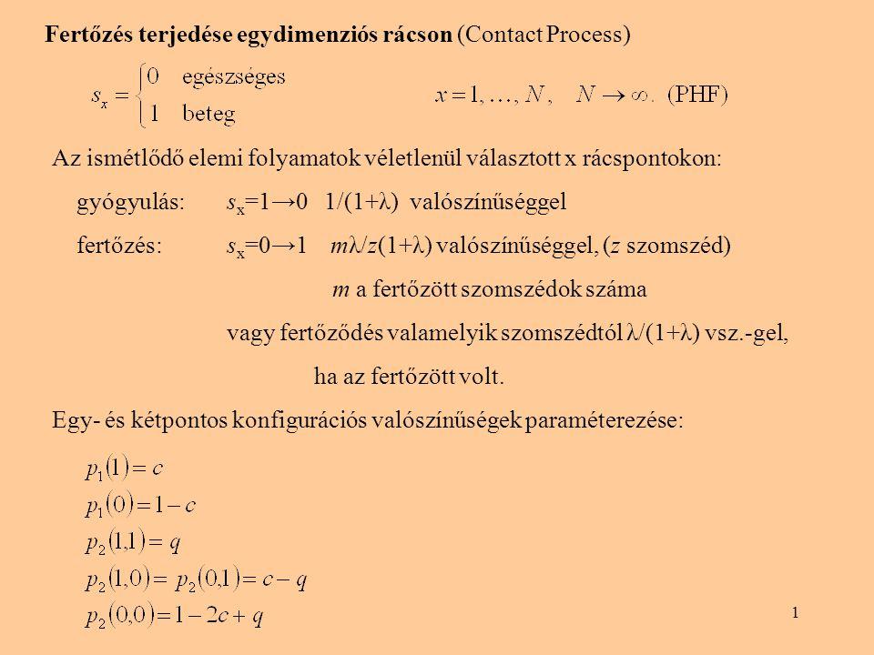 1 Fertőzés terjedése egydimenziós rácson (Contact Process) Az ismétlődő elemi folyamatok véletlenül választott x rácspontokon: gyógyulás: s x =1→0 1/(1+λ) valószínűséggel fertőzés:s x =0→1 mλ/z(1+λ) valószínűséggel, (z szomszéd) m a fertőzött szomszédok száma vagy fertőződés valamelyik szomszédtól λ/(1+λ) vsz.-gel, ha az fertőzött volt.