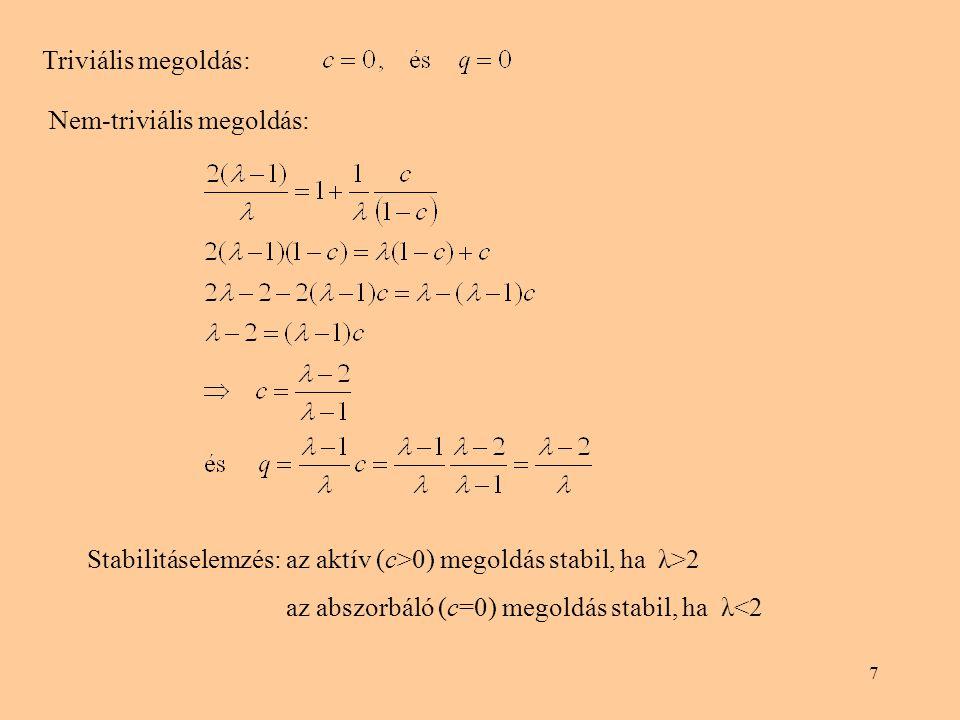 7 Triviális megoldás: Nem-triviális megoldás: Stabilitáselemzés: az aktív (c>0) megoldás stabil, ha λ>2 az abszorbáló (c=0) megoldás stabil, ha λ<2