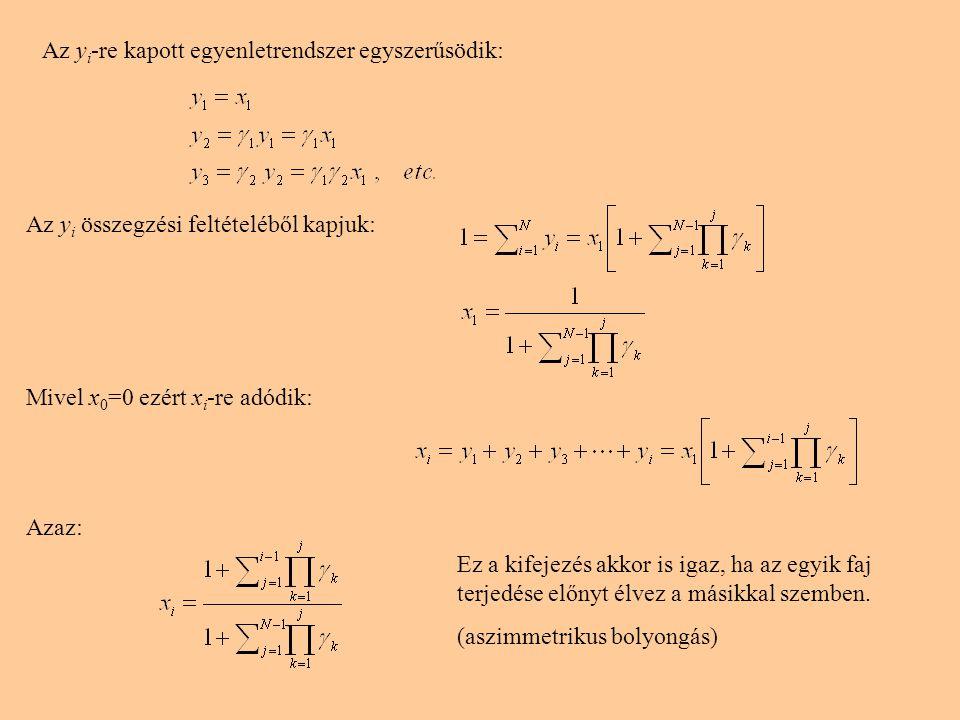 Az y i -re kapott egyenletrendszer egyszerűsödik: Az y i összegzési feltételéből kapjuk: Mivel x 0 =0 ezért x i -re adódik: Azaz: Ez a kifejezés akkor is igaz, ha az egyik faj terjedése előnyt élvez a másikkal szemben.
