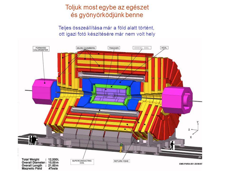 Nézzük meg hát most a mi CMS detektorunkat (CMS: Compact Muon Solenoid) ECAL Tracker HCAL Magnet Muon chambers Adatai: súlya 12.5 tonna, hossza 21 méter, átmérője 15 méter