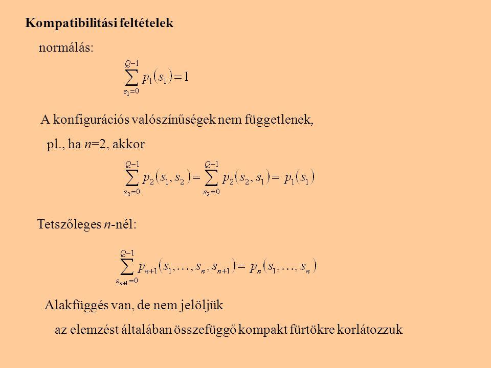 Kompatibilitási feltételek normálás: A konfigurációs valószínűségek nem függetlenek, pl., ha n=2, akkor Tetszőleges n-nél: Alakfüggés van, de nem jelö