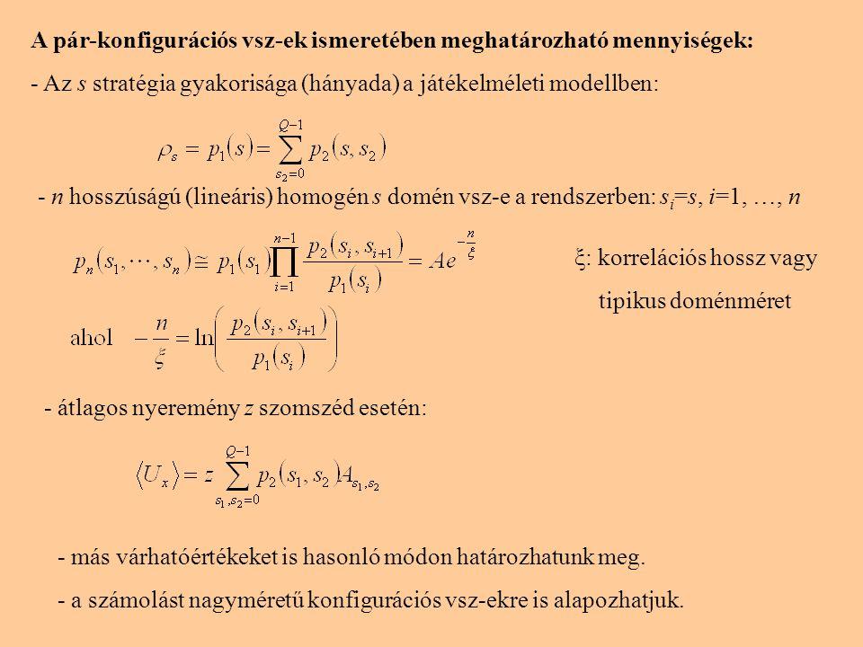 A pár-konfigurációs vsz-ek ismeretében meghatározható mennyiségek: - Az s stratégia gyakorisága (hányada) a játékelméleti modellben: - n hosszúságú (l