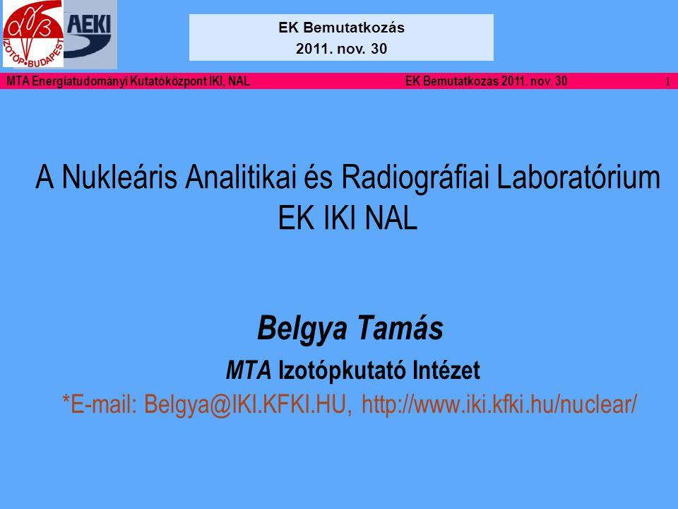 22 MTA Energiatudományi Kutatóközpont IKI, NALEK Bemutatkozás 2011. nov. 30 Köszönöm a figyelmet!