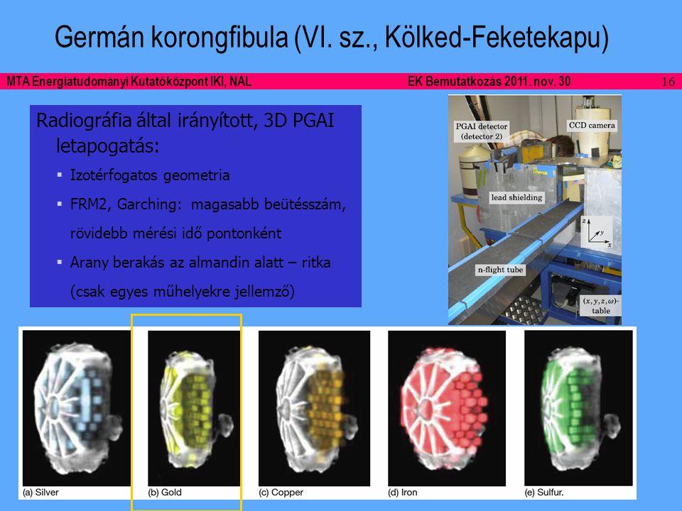 16 MTA Energiatudományi Kutatóközpont IKI, NALEK Bemutatkozás 2011.