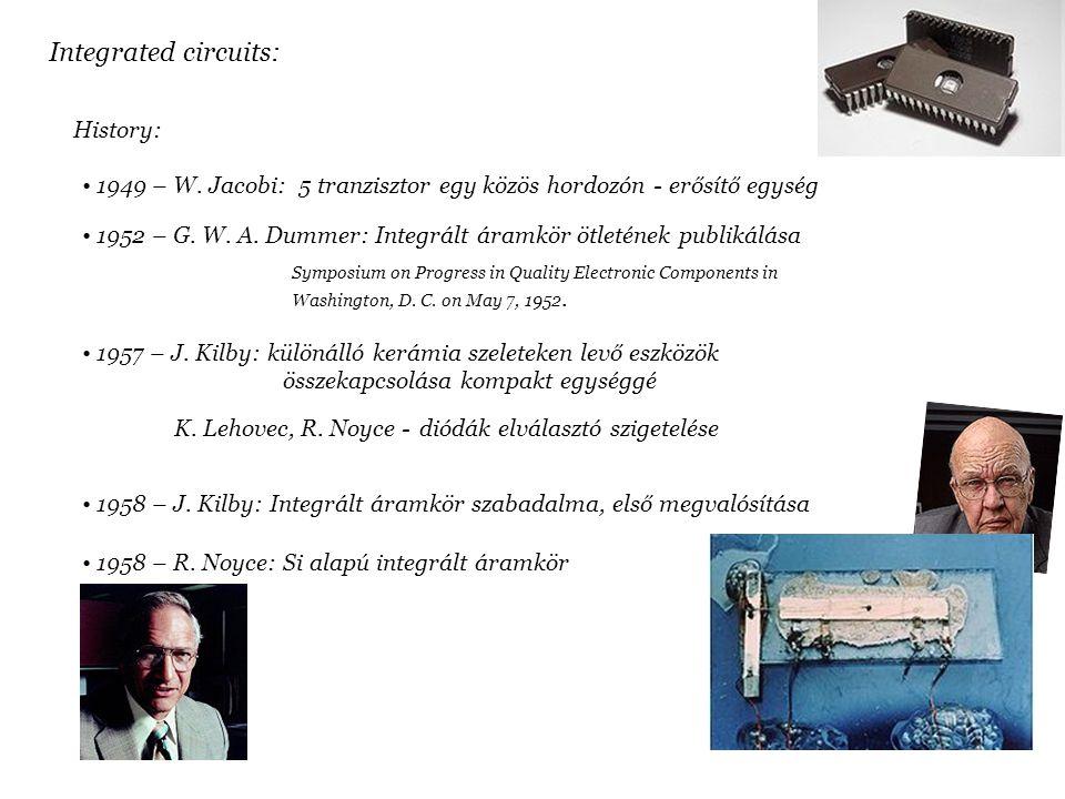 Integrated circuits: History: 1949 – W. Jacobi: 5 tranzisztor egy közös hordozón - erősítő egység 1952 – G. W. A. Dummer: Integrált áramkör ötletének