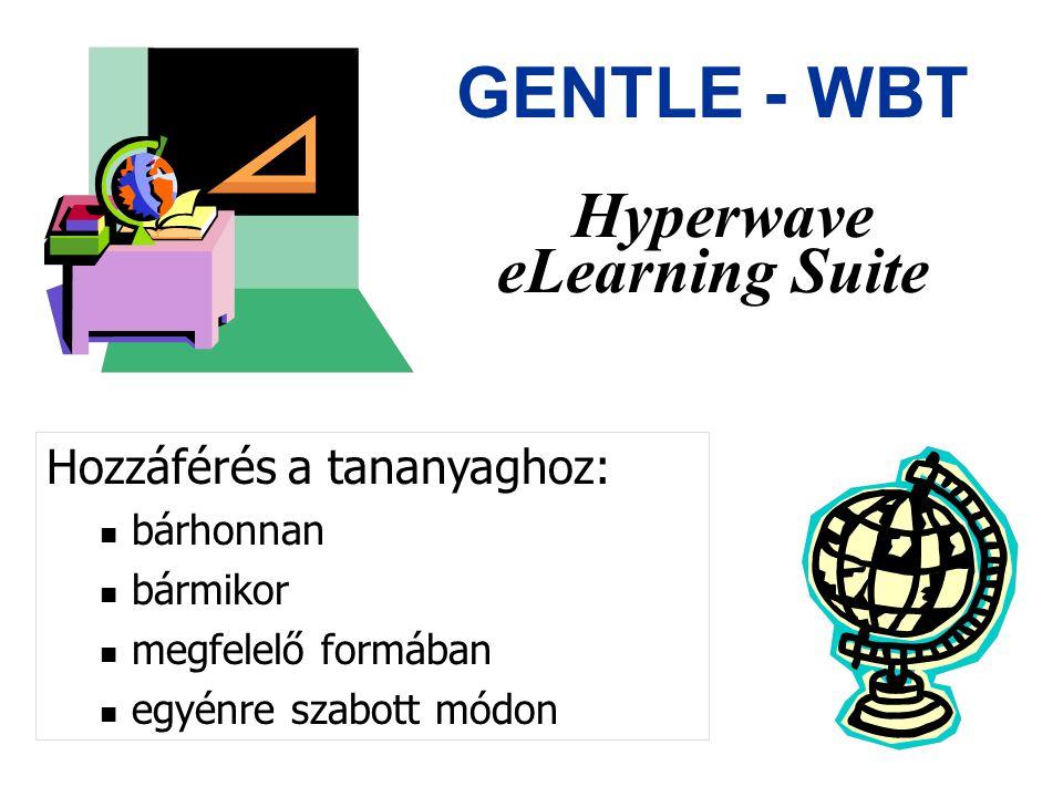 Gentle – WBT Virtuális oktatóközpont Foyer – Előcsarnok Lista a kurzusokról Regisztráció Study Room – Tanulmányi osztály egyénre szabott tanulási környezet Kurzus választás Előmeneteli statisztika megtekintése Course Room – Előadó terem strukturált tananyag, szinkron/aszinkron kommunikáció: –tanuló - tanuló –tanuló - oktató –tanuló - tutor Cafe – Kávézó vitafórum virtuális fogadóóra Admin – adminisztráció kurzus, tanuló nyilvántartás Eszközbázis: - kurzus felvitele/módosítás - tanuló/oktató/tutor/szerző regisztrálás/adat módosítás - tanulócsoport kialakítás - kurzus statisztika