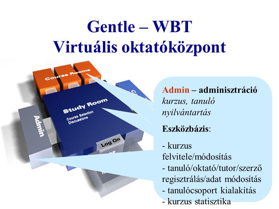 Interakció & Kommunikáció ( szinkron/aszinkron kommunikáció ) Info Board, Vitafórum Chat, e-mail Gentle-WBT felépítése/eszközrendszere Kollaboráció Csoportmunka (team) Kommentár (egyéni, publikus) Információ visszanyerés - Teljes szöveg/kulcsszavas keresés - Háttér könyvtár - Szószedet HIS-Hyperwave Information Server Tanulás Irányítás Statisztika és report Személyre szabott tanterv Oktató/Tutor Támogatás Tananyag (Hyperwave Virtual Folders) 3.rd party: CBT kurzus, HTML, PPT etc.
