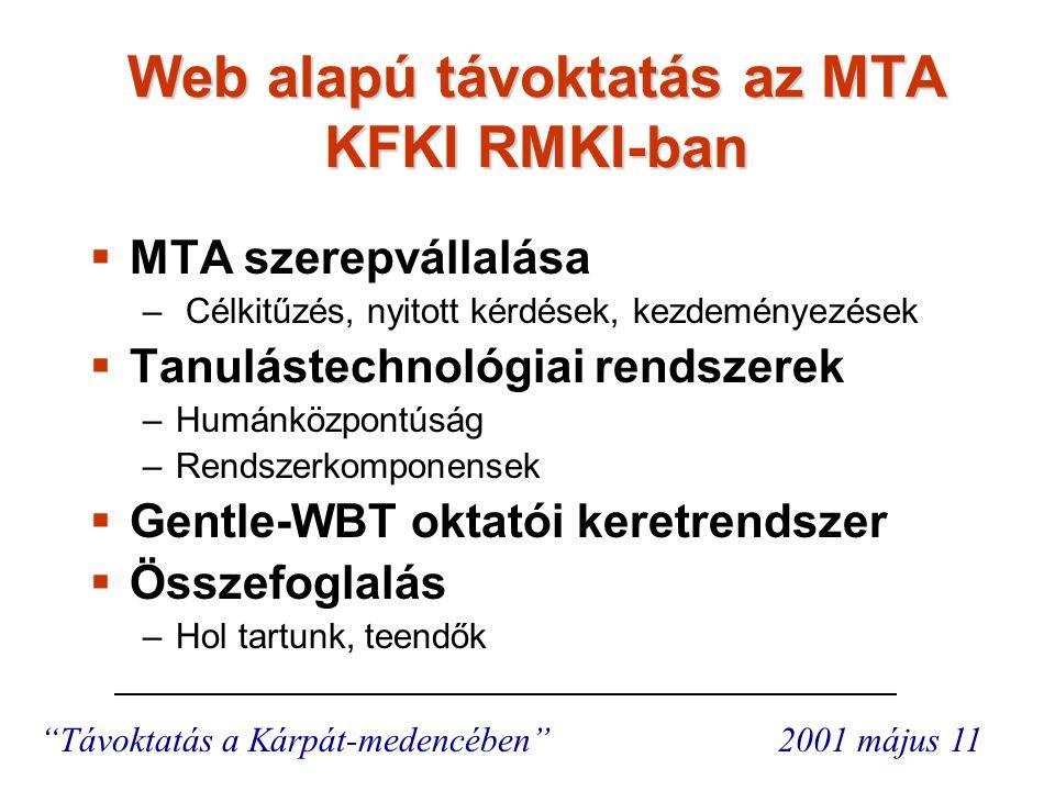 Az MTA szerepvállalása Az MTA szerepvállalása Az MTA tervezi, hogy a rendelkezésére álló tudásbázist a magyar tudományos közösség számára távoktatás formájában is rendelkezésre bocsássa internetes technológia használatával.