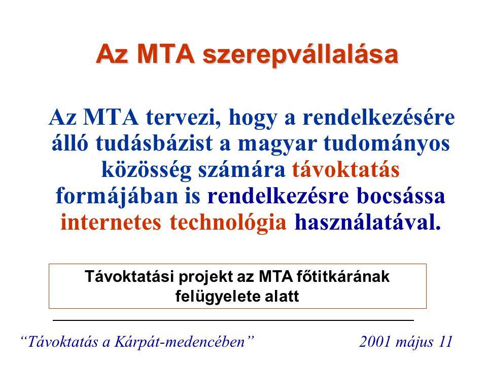 Nyitott kérdések  Célcsoport -Egyetemekkel nem behálózott régiók -Határon kívüli magyarság  Tematika – célcsoport függvénye  Jogi keretek Távoktatás a Kárpát-medencében 2001 május 11 A projekt megvalósítása támaszkodik a kutatóintézetek eddigi tevékenységére.