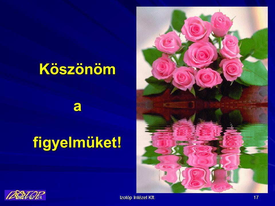 2014. 07. 24.2014. 07. 24.2014. 07. 24. Izotóp Intézet Kft. 17 Köszönöm a figyelmüket!