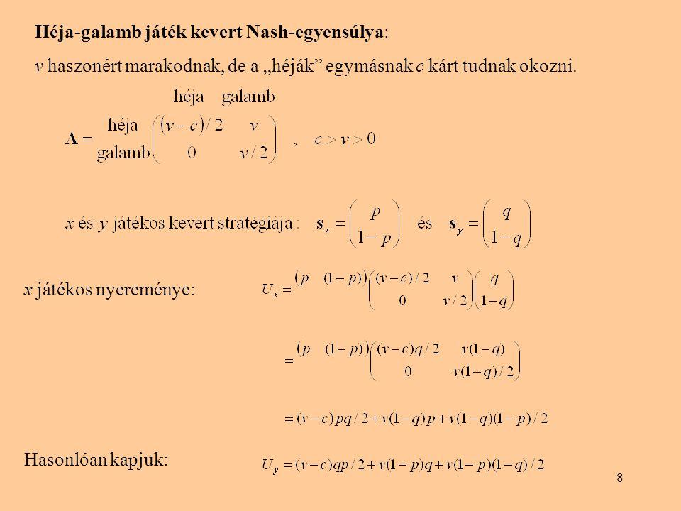 """8 Héja-galamb játék kevert Nash-egyensúlya: v haszonért marakodnak, de a """"héják"""" egymásnak c kárt tudnak okozni. x játékos nyereménye: Hasonlóan kapju"""
