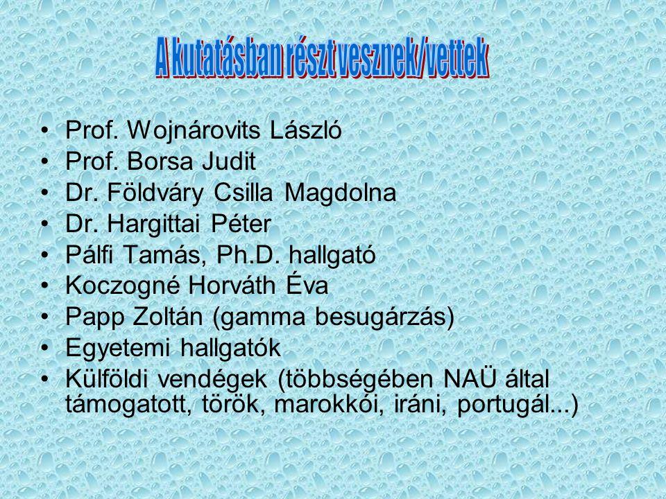 Prof.Wojnárovits László Prof. Borsa Judit Dr. Földváry Csilla Magdolna Dr.