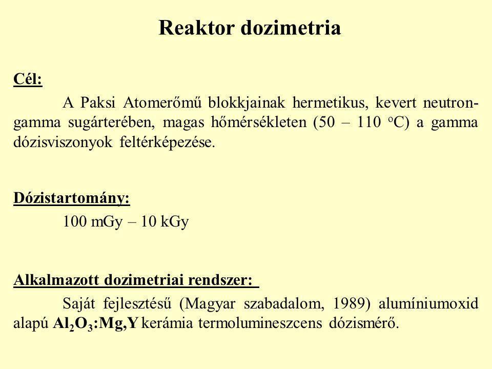 Reaktor dozimetria Cél: A Paksi Atomerőmű blokkjainak hermetikus, kevert neutron- gamma sugárterében, magas hőmérsékleten (50 – 110 o C) a gamma dózisviszonyok feltérképezése.