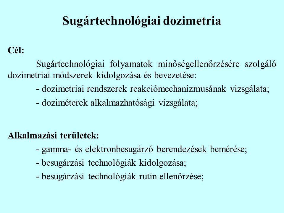 Sugártechnológiai dozimetria Cél: Sugártechnológiai folyamatok minőségellenőrzésére szolgáló dozimetriai módszerek kidolgozása és bevezetése: - dozime