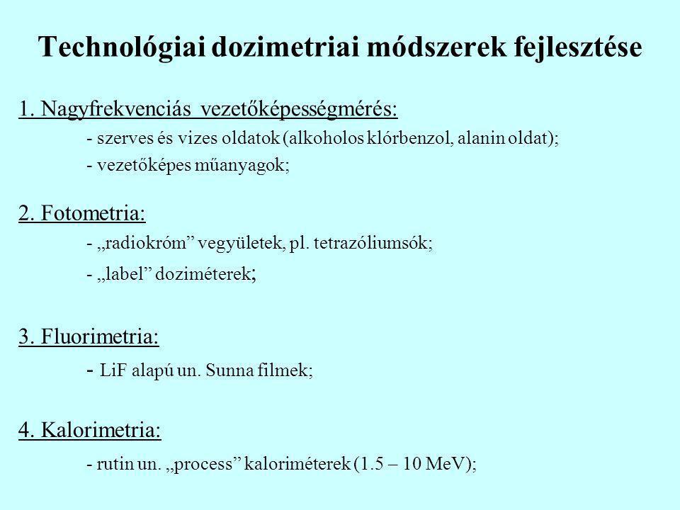 """Technológiai dozimetriai módszerek fejlesztése 4. Kalorimetria: - rutin un. """"process"""" kaloriméterek (1.5 – 10 MeV); 3. Fluorimetria: - LiF alapú un. S"""