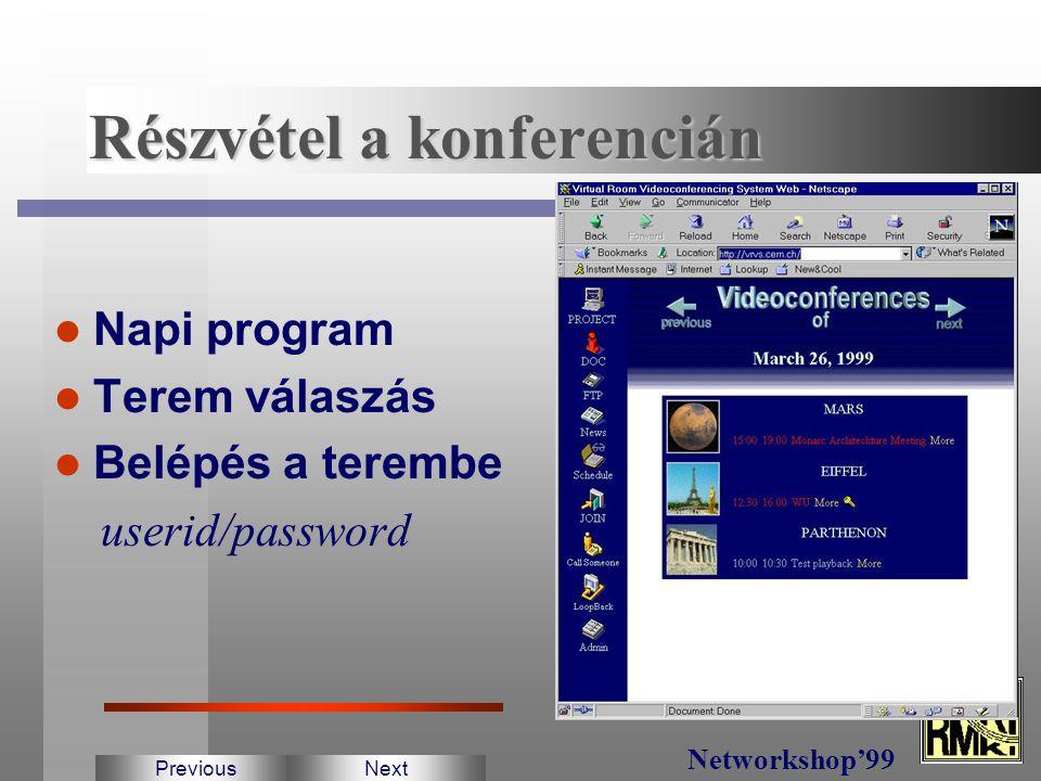 Teremfoglalás Schedule Manager 3 nemzetközi, 3 európai konferencia terem Secure konferencia Konferencia felvétel/lejátszás PreviousNext Networkshop'99