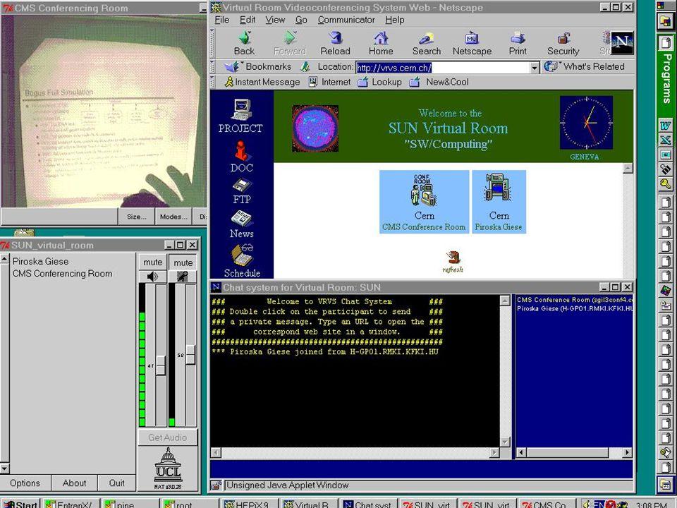 Részvétel a konferencián Napi program Terem válaszás Belépés a terembe userid/password PreviousNext Networkshop'99