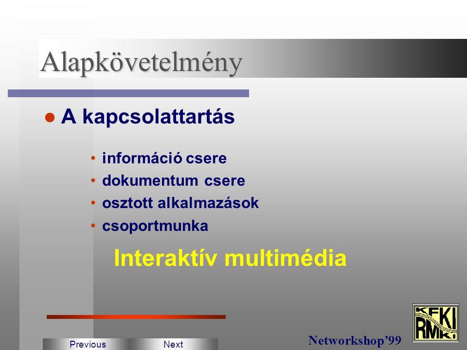 Fizika kutatások fő jellemzői Nagyberendezések köré összpontosul Nemzetközi együttműküdés Földrajzilag szétszórt partnerek PreviousNext Networkshop'99