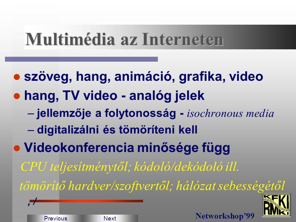 Alapkövetelmény A kapcsolattartás információ csere dokumentum csere osztott alkalmazások csoportmunka PreviousNext Networkshop'99 Interaktív multimédi