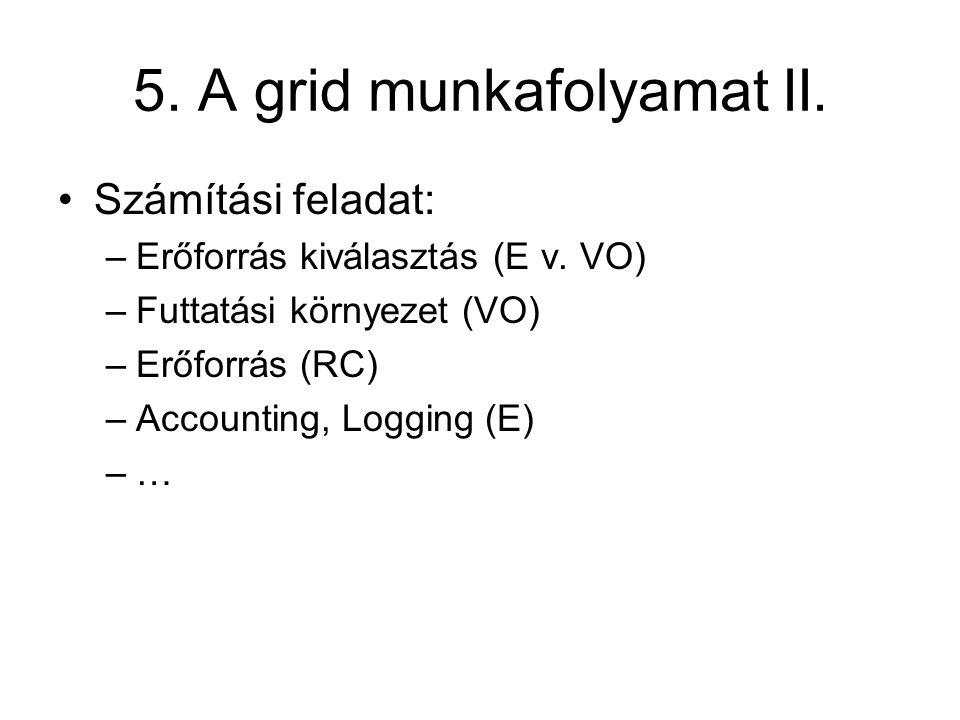 5. A grid munkafolyamat II. Számítási feladat: –Erőforrás kiválasztás (E v. VO) –Futtatási környezet (VO) –Erőforrás (RC) –Accounting, Logging (E) –…