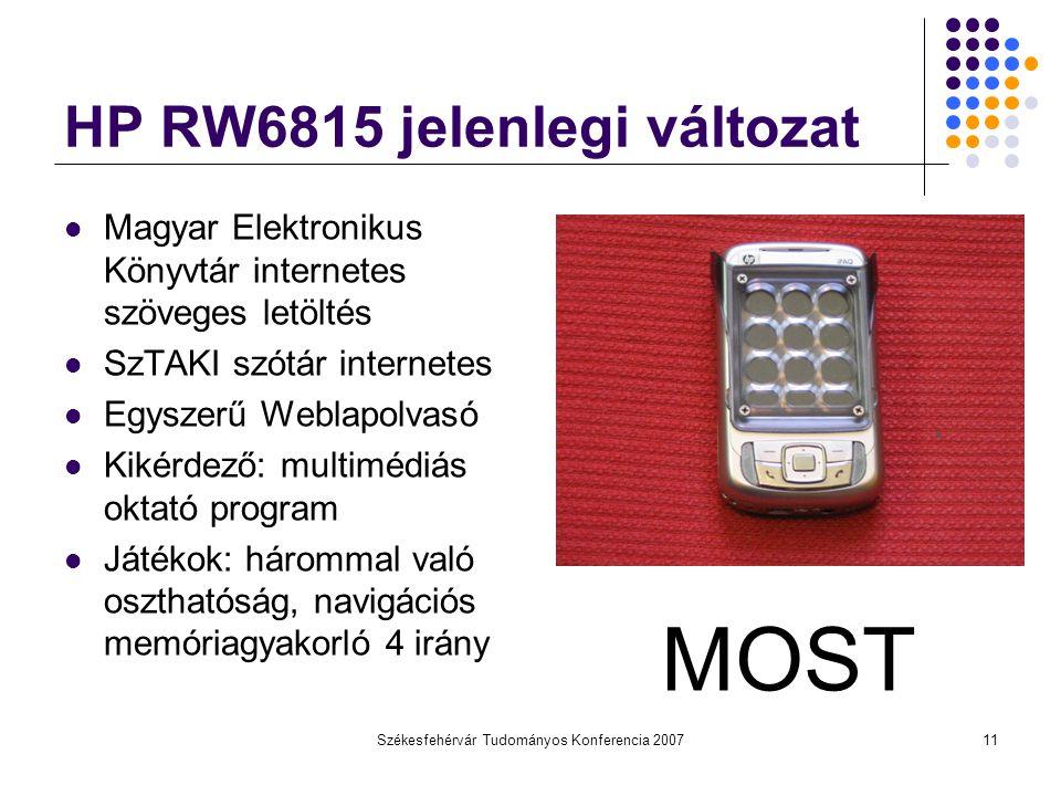 Székesfehérvár Tudományos Konferencia 200711 HP RW6815 jelenlegi változat Magyar Elektronikus Könyvtár internetes szöveges letöltés SzTAKI szótár inte