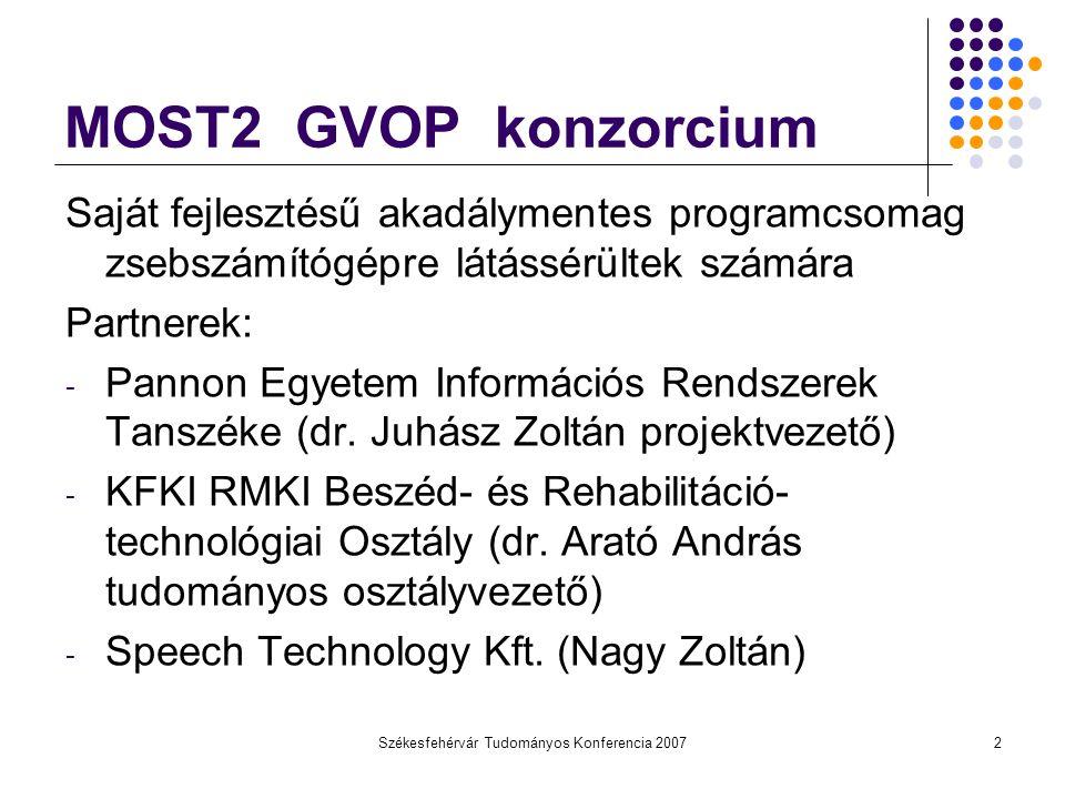 Székesfehérvár Tudományos Konferencia 20072 MOST2 GVOP konzorcium Saját fejlesztésű akadálymentes programcsomag zsebszámítógépre látássérültek számára