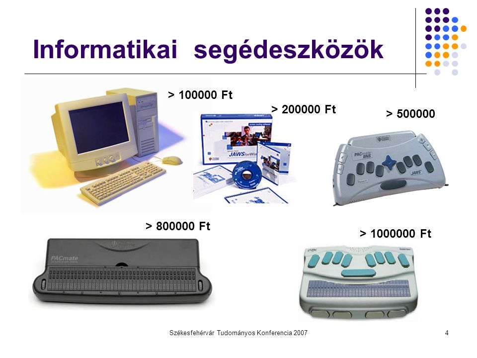 Székesfehérvár Tudományos Konferencia 20075 PDA - kéziszámítógép 80-120 eFt Megfelelő hardver Hangszóró (Beszédszintetizátor) Érintőképernyő (Braille billentyűzet) Nyíl gombok (Navigáció és programvezérlés) Szöveg ablak Title X