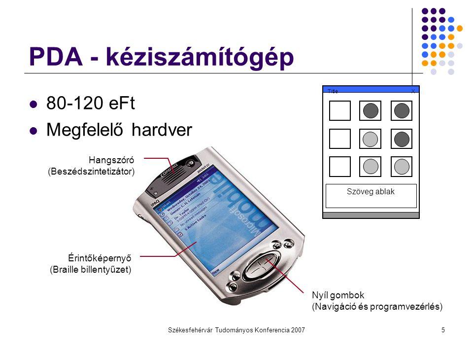 Székesfehérvár Tudományos Konferencia 20075 PDA - kéziszámítógép 80-120 eFt Megfelelő hardver Hangszóró (Beszédszintetizátor) Érintőképernyő (Braille