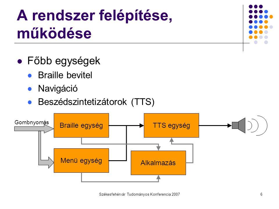 Székesfehérvár Tudományos Konferencia 20076 A rendszer felépítése, működése Főbb egységek Braille bevitel Navigáció Beszédszintetizátorok (TTS) Braill