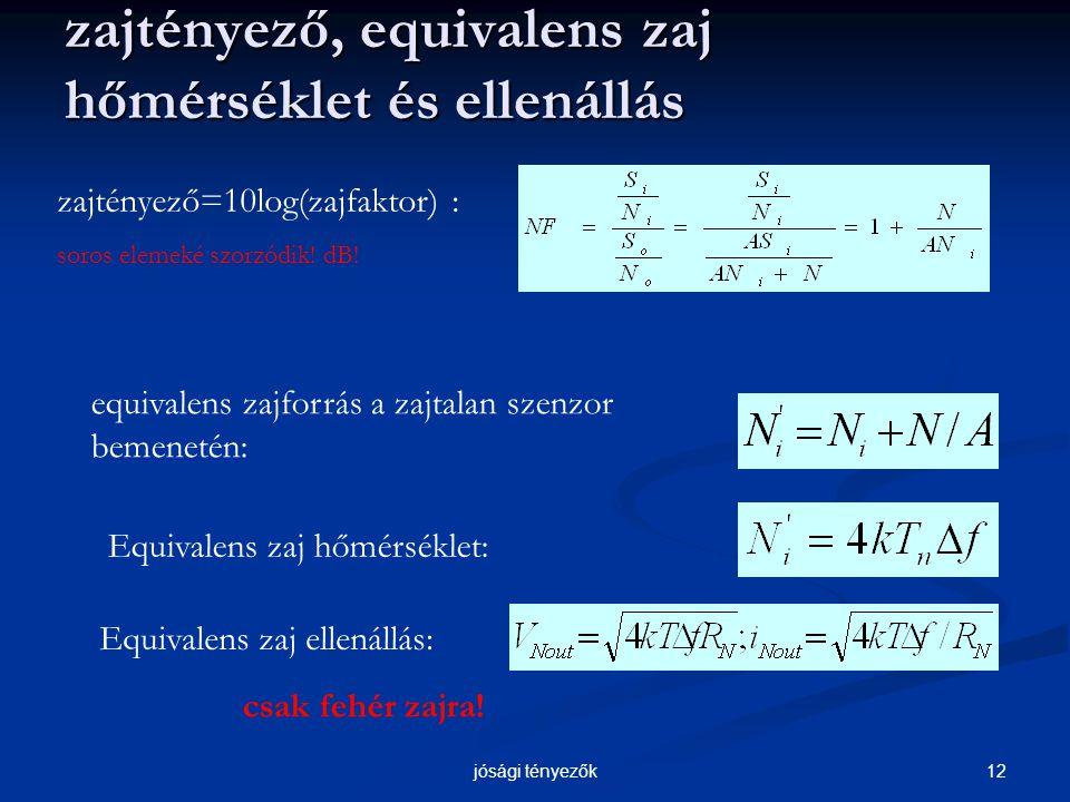 12jósági tényezők zajtényező, equivalens zaj hőmérséklet és ellenállás zajtényező=10log(zajfaktor) : soros elemeké szorzódik.